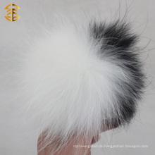 Weiß und Schwarzes Mischfarben-Waschbär-Pelz-Ball Schlüsselband Waschbär-Pelz Pom Pom