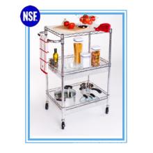 Adjustable Chrome Kitchen Metal Storage Trolley -New (TR7535120B3CW)