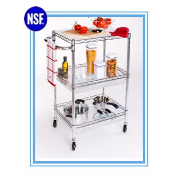 Ajustável cromo cozinha Metal armazenamento Trolley-New (TR7535120B3CW)