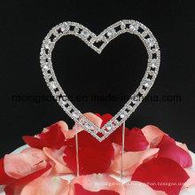 Vintage Rhinestone Single Heart Wedding Cake Topper
