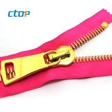 wholesale high quality custom fancy shirts zipper puller gold swiss metal zipper with best price