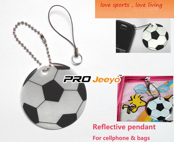 Reflective PVC Foam Leather Football White KeyChain RV-212 5