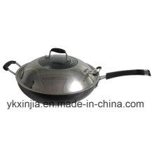 Kochgeschirr Aluminium Non-Stick Wok Küchenartikel mit Edelstahl-Abdeckung