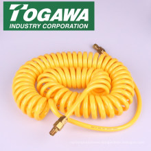 Coiled plastic air hose for quick connection. Manufactured by Togawa Industry Corporation. Made in Japan (nylon hose)