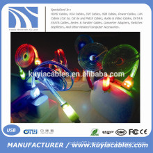 Smile Face Data Sync Micro USB Charging LED flashing Light Cable For Mobile Cell Phone