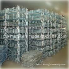 Galvanisierter oder Puderbeschichtungs-Falt- und Stapelbarer Stahllagerkorb