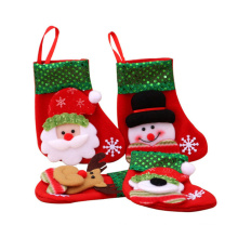 DEQI Recycle Cute Christmas Stocking 3D Hanging Christmas Socks Tree Ornament Gift Candy Bag Santa Snowman Reindeer Decoration