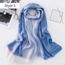 2017 China wholesale lightweight long filamentary silver dip-dye silk blend scarf shawl women silk scarf