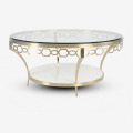 European style stainless steel glass round coffee table