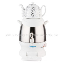 Sf-3315 (white) Turkish Samovar, Electric Kettle, Iranian, Russian Samovar with Ceramic Teapot
