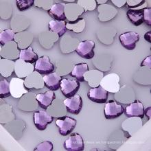 Forma de corazón de espalda plana de piedra de acrílico, púrpura