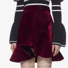 Vestido de mujer de moda de falda corta de terciopelo asimétrico