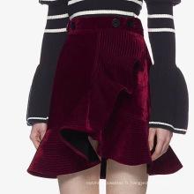 Robe courte en velours asymétrique pour femme