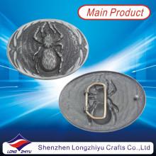 Su propio diseño del logotipo Metal plata antigua acabado araña cinturón hebilla (LZY201300006)