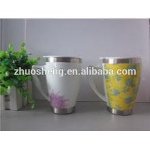2015 hot new product customized double wall white ceramic printing mug stainless mug with handle