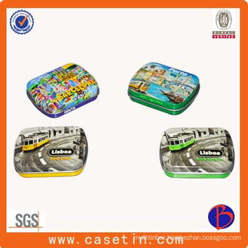 Square Shape Mint Candy Metal Tin Boxes with Hinge