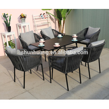 New design outdoor patio webbing rope furniture sets livingroom rope chairs and coffee table  set for lounge