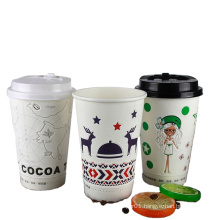 hot sales good environment promotional hot paper cups with lids logo printed