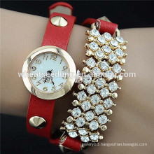 2015 Ladies PU leather diamond decoration hot promotional watch