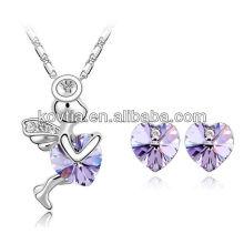 Аметист сердце ювелирные изделия набор угол девочек ожерелье сердце серьги стержня