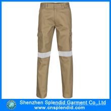 Algodão de alta qualidade calças de trabalho Khaki reflexivo para homens