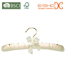 Branco cor gancho de cetim acolchoado para roupas (MR008)