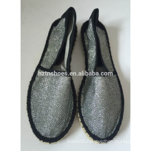 New espadrille shoes black stitching rubber sole handmade jute flats
