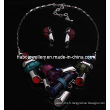 Ensemble de bijoux en pierre carrée / ensemble de collier de mode (XJW13217)