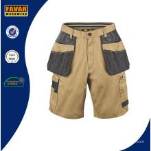 Hardwearing Summer Multi Pocket Craftsman Shorts Khaki Black