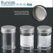 Conteneurs d'échantillons de 60 ml enregistrés et approuvés par la FDA avec bouchon en métal