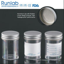 FDA Registered and Ce Approved 60ml Sample Containers with Metal Cap