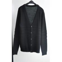 Invierno de cuello de pico de punto hombres Cardigan suéter con el botón