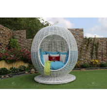 Impresionante sofá de manzana de ratán de polietileno para uso al aire libre Muebles de mimbre de jardín de patio