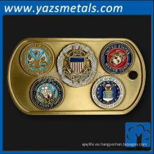 personalizar las etiquetas de perro del metal, etiqueta de perro militar de encargo del metal de la alta calidad con los sellos de la rama