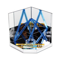 Apex маленький прозрачный синий акриловый зеркальный рекламный дисплей