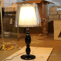 Polished Black Resin Bedside Table Lamp for Hotel Project