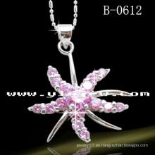 Colgante de la flor de la plata esterlina 925 con la CZ rosada (B-0612)