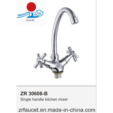 Modern Double Handle Deck Mounted Kitchen Faucet