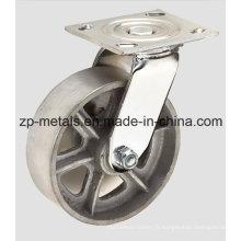 Roue à roulettes robuste en fonte pivotante de 4 pouces