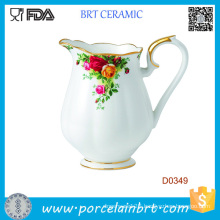 White Beautiful Flower Decorative Ceramic Water Jug