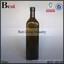 Bouteille en verre vert 750ml avec double bouchon pour le vin