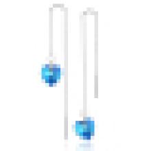 La mode féminine coeur de l'océan Blue Crystal Long-Shaped Earring