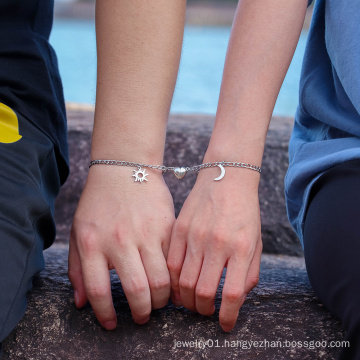 2Pcs Valentine's Day Gifts Stainless Steel Sun Moon Charm Magnet Attraction Couple Bracelet