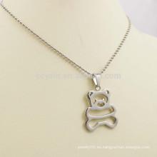 Ahueca hacia fuera la joyería de plata del collar del oso del metal de los niños lindos