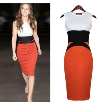 Sexy Ladies Splicing sans manches Slimming Summer Free Prom Dress (50121)