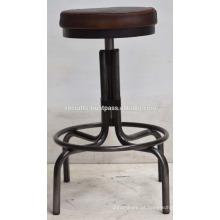 Tambor de metal metálico industrial Metal redondo de acabamento natural em couro Seat