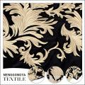 Bonne vente broderie d'or 100 polyester velours tissu floral