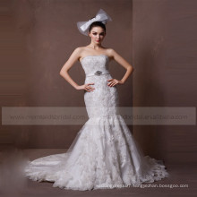 Beautiful Mermaid Lace & Beads Boat Neck Croset Back Wedding Dress Beading On Waist