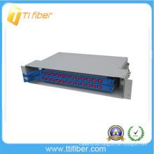 """1 U Marco de distribución óptico de fibra de 24 puertos de 24 """"montado en rack"""