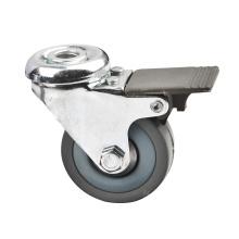 Roulette industrielle légère à boulons avec frein en plastique